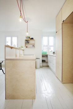 Stylist Scandinavian-Styled Plywood Kitchen with Mint Touches : Fantastic Scandinavian Plywood Kitchen With Whitewashed Flooring