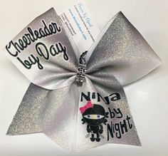 Bows by April - Cheerleader by Day Ninja By Night Black and White Glitter Cheer Bow, $15.00 (http://www.bowsbyapril.com/cheerleader-by-day-ninja-by-night-black-and-white-glitter-cheer-bow/)