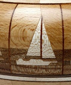 Making sailboat pattern on a bowl