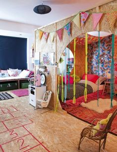 Boho Bedroom with Playroom with Kids