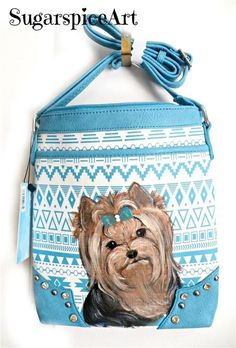 Yorkie Shoulder Bag Purse Hand Painted Handbag Dog Art By