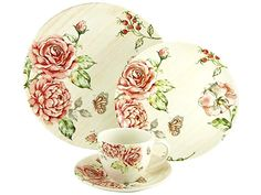 30 Piece Floral Dinnerware Set Vintage Round Dining Service Crockery Plates Cups for sale China Dinnerware Sets, Vintage Dinnerware, Vintage Kitchenware, Porcelain Dinnerware, Dinner Set Online, Dinner Sets, Dining Plates, Dining Services, Rose Decor