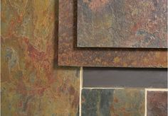 A beautifully varied slate tile, full of rich red, purple and copper tones, the Peacock Slate also has yellow and green shades to lighten and add further interest to the tiles. The surface has been left with a riven finish and the tiles have a sawn edge. Shades Of Green, Tiles, Slate Flooring, Slate Tile, Slate Tile Floor, Home Decor, Flooring, Traditional Kitchen, Slate