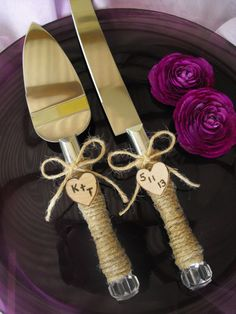Country Rustic Chic Wedding Cake Server And Knife Set. $32.99, via Etsy.
