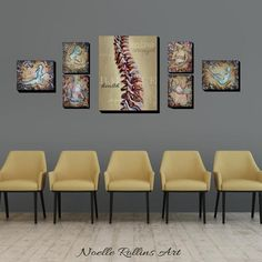 Chiropractic wall artwork neutral calming large print sets for office spine showing flexibility and Clinic Interior Design, Clinic Design, Chiropractic Office Decor, Chiropractic Clinic, Waiting Room Design, Studio Pilates, Medical Office Decor, Office Waiting Rooms, Small Room Design