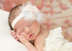 Light pink chiffon headband, baby headband, infant headband, child headband