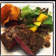 Seared Tuna with spices. Seared Tuna, Steak, Food Porn, Spices, Spice, Recipes, Crusts, Steaks, Treats