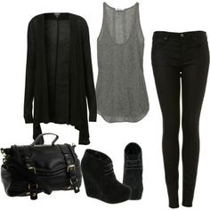 I love how simple this is. I'd fall over in the shoes, but I love that this is casual enough to be comfortable, but dressy enough for work. black liquid leggings, loose/flow-y grey tank, and a black sheer cardigan thrown on top. great outfit for fall Fashion Looks, Fashion Beauty, Fall Winter Outfits, Autumn Winter Fashion, Fall Fashion, Summer Outfits, Casual Outfits, Fashion Outfits, Womens Fashion