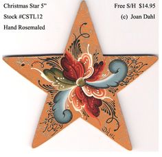 """Christmas Star 5""""  [CSTL12] $14.95  Diameter: 5"""" (12 cm)   Designed & Painted by Joan Dahl  Collector Christmas Ornaments For You!  Order these Unique Hand painted Collector Ornaments today for yourself and as gifts for those persons that have """"everything"""".   OR:   Under """"Unfinished Ornaments"""", we offer unfinished Collector Christmas Ornaments with patterns and color coded instructions. You will also learn to mix the different families of colors and their values.  Click On…"""