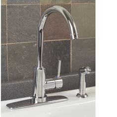 Essen Gooseneck Kitchen Faucet with Deck Plate & Handsprayer