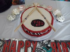 Snare drum cake I made for my little rockstar Nate Nate