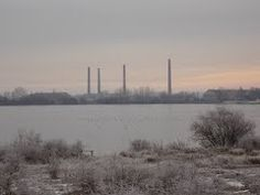 Stewartby Lake and the old brick factory chimneys