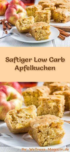 Rezept für einen saftigen Low Carb Apfelkuchen - kohlenhydratarm, kalorienreduziert, ohne Zucker und Getreidemehl