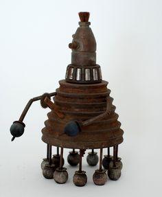 """https://flic.kr/p/6BhH76   """"Bozo"""" Assemblage Robot Sculpture"""