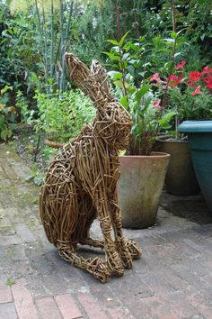Willow Garden Or Yard / Outside and Outdoor sculpture by sculptor Emma Walker titled: 'Willow HARE (Woven Willow garden/Yard statue/sculpture/For sale)' Willow Statues, Garden Statues, Sculptures For Sale, Animal Sculptures, Garden Sculptures, Willow Garden, Twig Art, Rabbit Sculpture, Willow Weaving