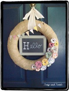 Cutest hello wreath from twigs and twirl