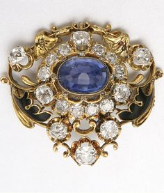 GOLD, DIAMOND, SAPPHIRE AND ENAMEL BROOCH, LATE 19TH CENTURY