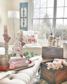 We love how her Valentines Day decor has taken over her living space! With bushes, pinks, and some reds we feel like cupid watching from above! 💘 Happy Valentines Day everyone! Living Room Decor Next, Decor Interior Design, Interior Decorating, Valentine's Day 2018, Pink Candles, Felt Garland, Love Wall, Valentines Day Decorations, Happy Valentines Day