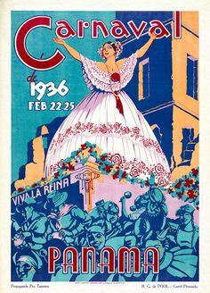 Carnaval de 1936, Panama vintage travel poster