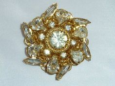 Vintage Clear Rhinestone Gold Tone Filigree by labaublesandbags, $24.00