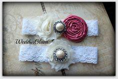 Fall Wedding Garter - Ivory Lace Garter Set -Bridal Garter - Vintage Garter - Fuchsia Magenta Wedding -Magenta garter- Wedding accessory