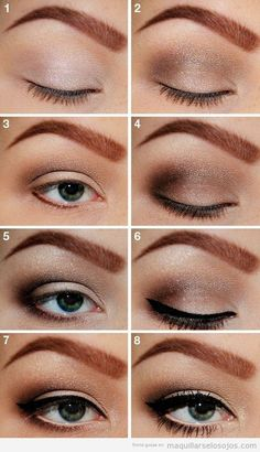 Step by step make up/ paso a paso maquillaje ojos marro ahumado eyeliner negro