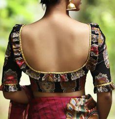 Designer Planet : Blouse Back Neck Designs For Modern Diva Sarees Indian Blouse Designs, Blouse Back Neck Designs, Simple Blouse Designs, Stylish Blouse Design, Bridal Blouse Designs, Sari Design, Diy Design, Blouse Designs Catalogue, Designer Blouse Patterns