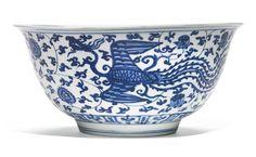 A large blue and white 'Phoenix' bowl, Jiajing mark and period