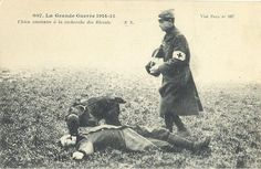 WW1. French body collector finds a fallen soldier.
