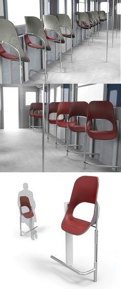 해외)버스의자.많이 기울어져있어 완전 앉았다기보단 약간 기대있다는 느낌으로 앉아야한다.서있기엔 다리가 아프고 앉기에는 뭔가 오버해서 휴식하는것같아 그런 선택장애를 가진사람들을 위해 나타난 짬짜면같은 디자인이다.애매한 디자인이 좋을수 이다는 경우.