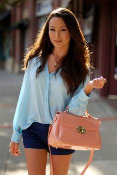 Long sleeved silk blouse and short shorts!