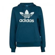 Adidas Trefoil Logo Hoody ❤ liked on Polyvore featuring tops, hoodies, blue hoodie, adidas top, hoodie top, blue hoodies and sweatshirt hoodies