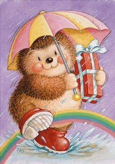 DBK Art Licensing - Original Illustrations & Photography for Greeting Cards, Gift Wrap, Napkins, Stickers, and much more. Tatty Teddy, Christmas Greeting Cards, Christmas Greetings, Cute Images, Cute Pictures, Funny Hedgehog, Cute Paintings, Religious Images, Cute Animal Drawings