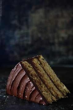 Browned Butter-Banana Cake with Salted Dark Chocolate Ganache via Bakers Royale Chocolate Ganache, Yummy Cakes, Eat Cake, Ganache Recipe, Ganache Frosting, Sweet Recipes, Frosting Recipes, Cupcake Recipes, Cupcake Cakes