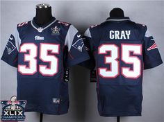 New England Patriots  35 Jonas Gray 2015 Super Bowl XLIX Championship Blue  Elite Jersey New 64b84cfb6