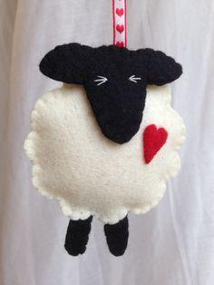 Opknoping versieringen - voelde schapenwol - Valentines - huwelijk - jubileum - voelde - 7e verjaardag - 7e