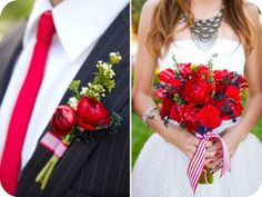 Excluding the ribbon though.    navy and red wedding flowers