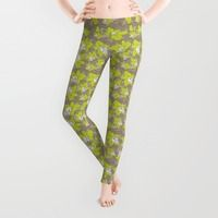 Leggings featuring green orchid flowers by EkaterinaP