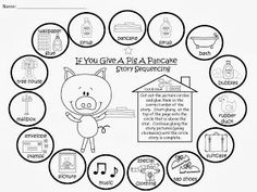 FREEBIE: If You Give A Pig A Pancake Story Sequencing Activity....black and white printable. fairytalesandfictionby2.blogspot.com