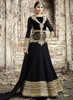 Black Embroidery Work Georgette Santoon Long Designer Anarkali Gown Suit http://www.angelnx.com/Salwar-Kameez/Anarkali-Suits