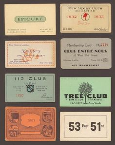 Speakeasy membership cards collected between 1920 and 1933