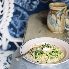 Courgette and goats' cheese risotto