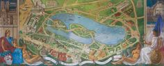 G. Goor, détail du plan de l'Exposition coloniale exposé dans la Cité des informations, 1931. Le tableau est actuellement exposé au Palais de la Porte Dorée. Photo : Lorenzö