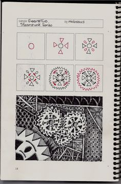 Note page layout 2  Life Imitates Doodles: New tangle patterns 'Geer No. Two' and 'Geer No. Three' - Steampunk Series