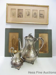 1850 Sterling Silver Tea Set RN England Capt Thomas Lysaght Family Photographs #GR