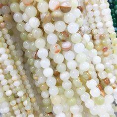 White bead strands