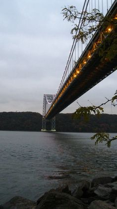 Night falls on the George Washington Bridge. Washington Heights, Manhattan.
