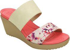 Women's Crocs Leigh II 2-strap Graphic Wedge Sandal - Stucco/Gold Sandals