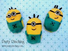 "Love the movie ""Despicable Me"" and loved the little Minions.  I made these Minions out of Milano cookies!  I used yellow candy melts, blue fruit rollups, white Smarties candies, black licorice rope and edible black marker."