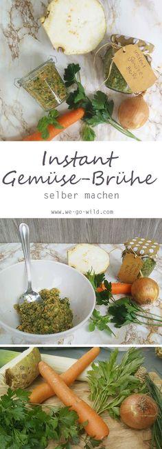 Diese selbstgemachte Instant Gemüsebrühe verleiht Suppen, Soßen und Nudelgerichten einen besonders leckeren Geschmack. Die Gewürzpaste hält im Kühlschrank bis zu einem Jahr